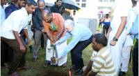 Governor planting a a Jack fruit Tree along with Minister for Agriculture Shri. V.S. Sunil Kumar on World Enviroment Day 2018