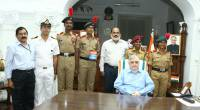 With  NCC cadets, Lt.Cdr P.Kalra,  SainikWelfareDept director Sh.Govindan Nair etc. after inaugurating sale of  ArmedForces FlagDay