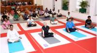 Governor attends Yoga session with staff of Kerala Raj Bhavan on International Yoga Day 2018